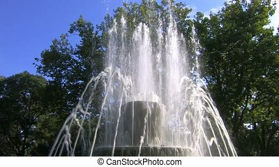 Fountain in park, blue sky and trees background, Canon XH...