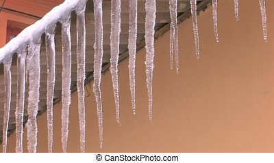 Dangerous spring icicles hanging