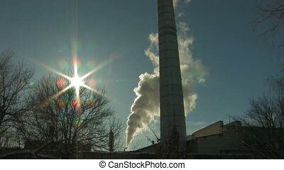 coal burning power station - Panorama of coal burning power...
