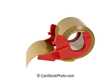 package tape dispenser isolated - roll of package tape and...