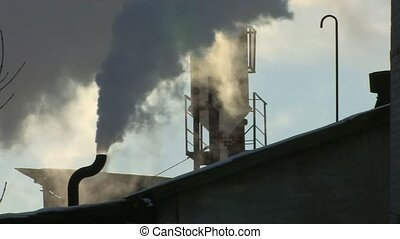Pollution of environment - Blue sky and exhaust smoke, Canon...