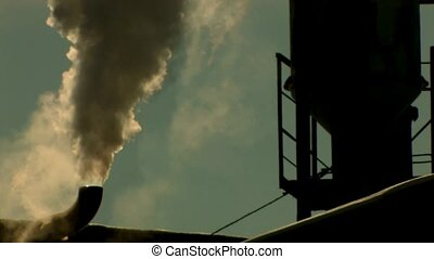 Exhaust smoke on dramatic sky background, Canon XH A1,...