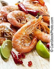 Prawns with Chili and Lime - Pile of king prawns with lime...