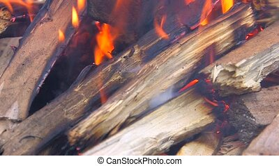Beginning of blacksmith work, burning up firewood, Canon XH...