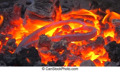 End-product in forge at blacksmith shop, closeup, Canon XH...