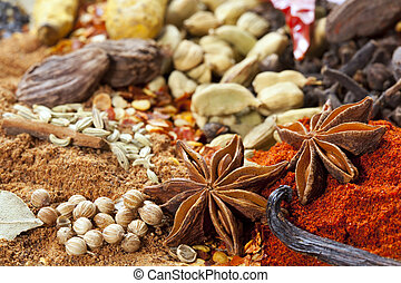 Spices - Too many spices to count! Star anise, paprika,...