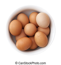 Bowl of Brown Eggs - Brown eggs in a white bowl. Overhead...
