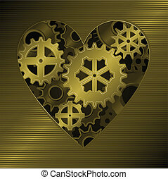 Gear heart - Mechanical clockwork heart formed from gold...