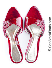 Red Shoes. - Pair of high heel red female shoes isolated on...