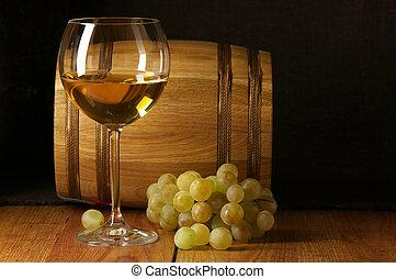 White wine, grape and barrel - Glass of white wine, white...