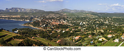 Cassis, France - Panorama of the town of Cassis, Provence,...