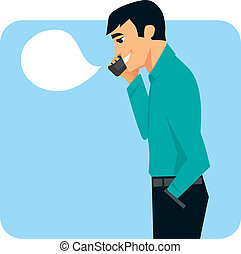 Man on cell phone graphic - Man speaking on cell phone