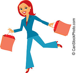 Women with shopping bags - Women running with shopping bags