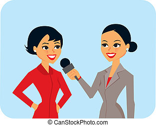 Women Interviewing - cartoon of women in interview.