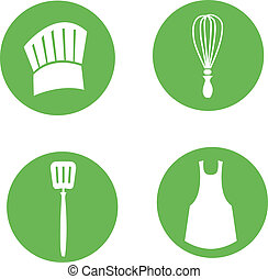 Kitchen and Cook Icon Set - Cook items, chef hat, wisk,...