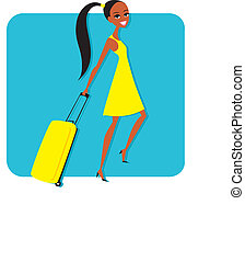 Woman with travelling suitcase - Illustration of girl with...