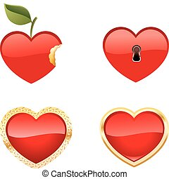 Set of four Heart Icons - Set of Shiny Heart Icons Heart...