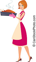 Illustration of mother baking - Blonde woman carrying a...