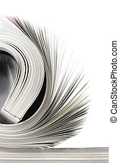 Rolled magazine - Close-up of rolled magazine isolated on...