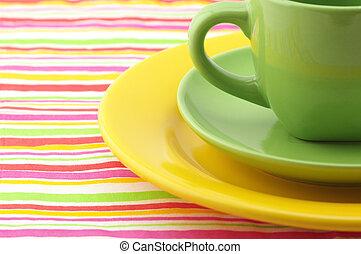 Multicolored dishware