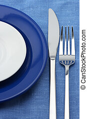 Plates, fork and knife