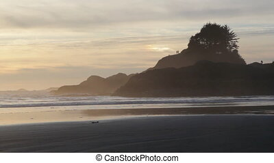 North Pacific sunset - Rocky outcrops in the North Pacific...