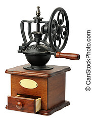 Antique coffee mill, isolated - Antique hand-mill for...