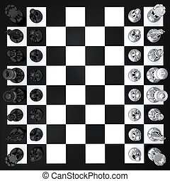 Chess top view - Black and white chess board top view