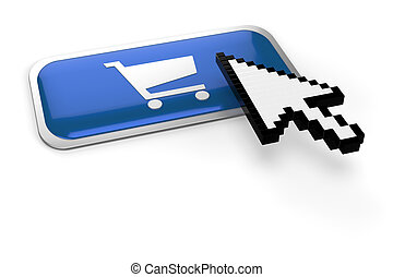 Pixelated mouse pointer on shopping cart - pixelated mouse...