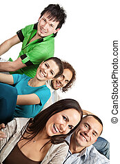 Happy friends - Group of happy young people; isolated on...