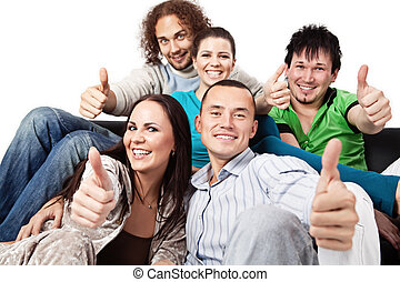 Thumbs up - happy young people