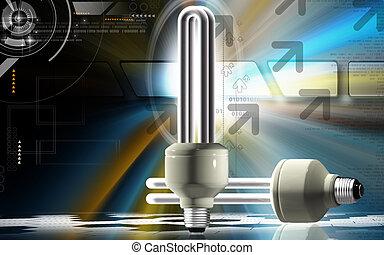 CFL light - Digital illustration of a CFL light in colour...