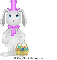 Rabbit with Easter eggs - Easter vector, rabbit with a...