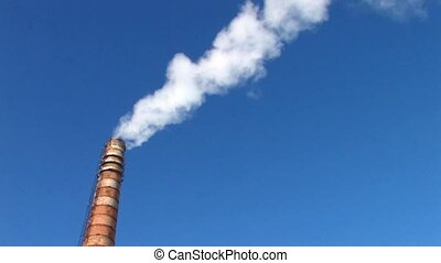 Tower of Coal burning power station on blue sky background,...