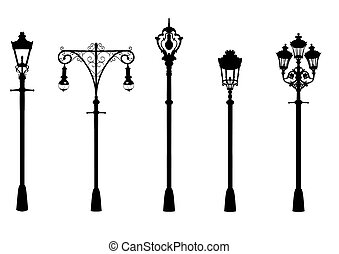 street lighting - Illustration of five vintage street lights