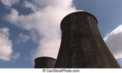 Two smoking towers of power station, Canon XH A1, 1080p,...