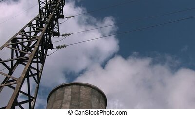 powerplant with transmission line - View of powerplant with...