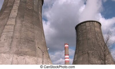 power station towers - Coal burning power station with trees...