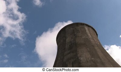 power station Tower - Bottom view of Coal burning power...