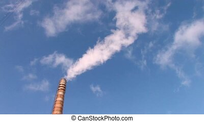 Tower of power station - Smoke from Coal burning power...
