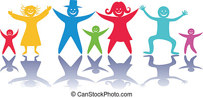 Happy people and children.
