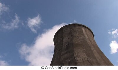 power station tower - Dramatic view of coal burning power...