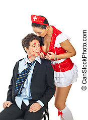 Sexy nurse seduce kissed man