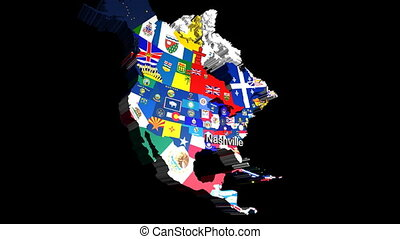 3D USA with State Flag Nashville - 3D CG Map of USA with...