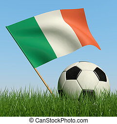 Soccer ball in the grass and flag of Ireland. - Soccer ball...