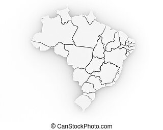 Three-dimensional map of Brazil. 3d
