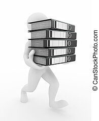 Men with archive from folders. - Men with archive from...