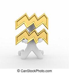 Símbolo, Aquário, Astrológico, homem