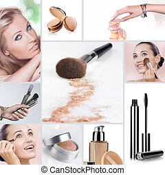 makeup collage - Cosmetic theme collage composed of...