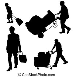 Baggage handling - Illustration of various people pushing...